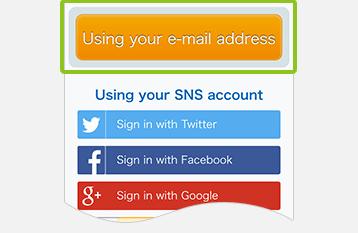 メールアドレスで登録するを選択した画面の画像